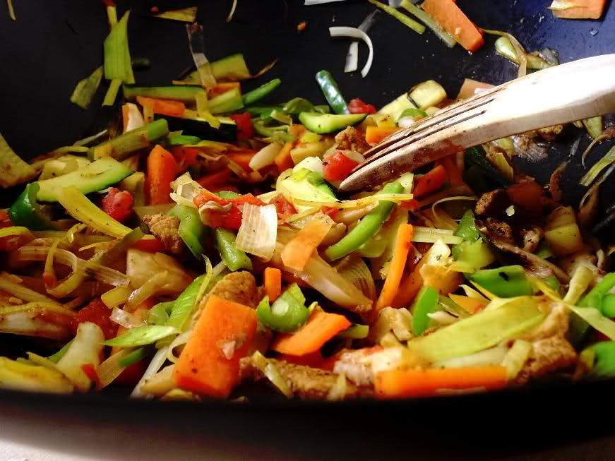 Receta de lomo de cerdo con verduras al wok for Que cocinar con verduras
