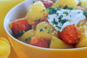 Goulash de patata  con panceta y cabanossi